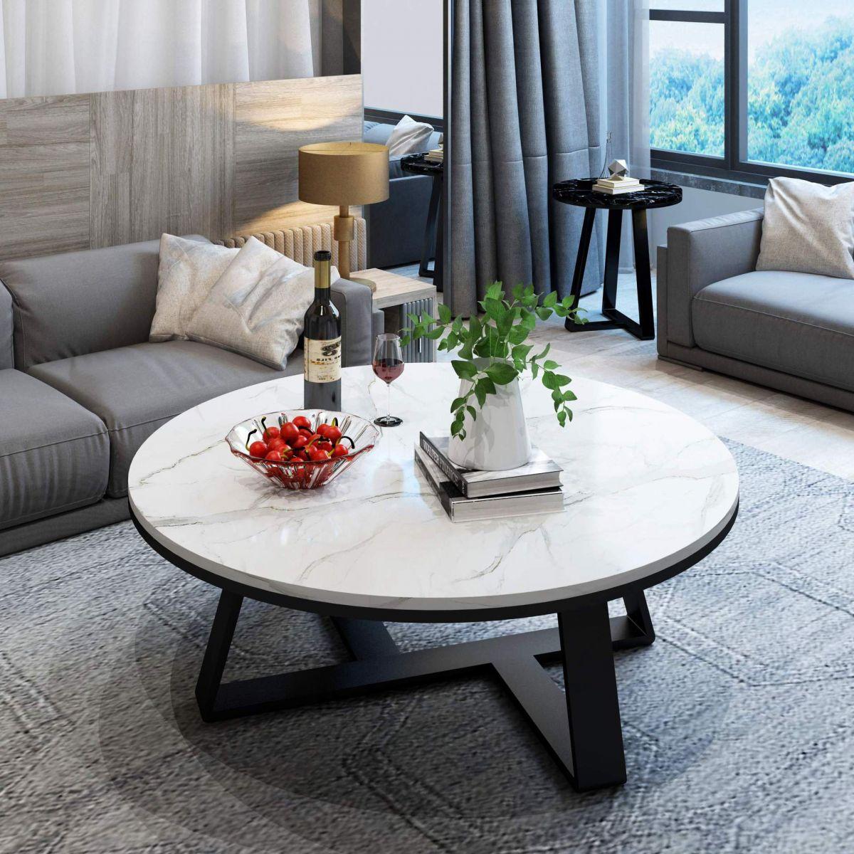 Bàn sofa tròn mặt đá cao cấp