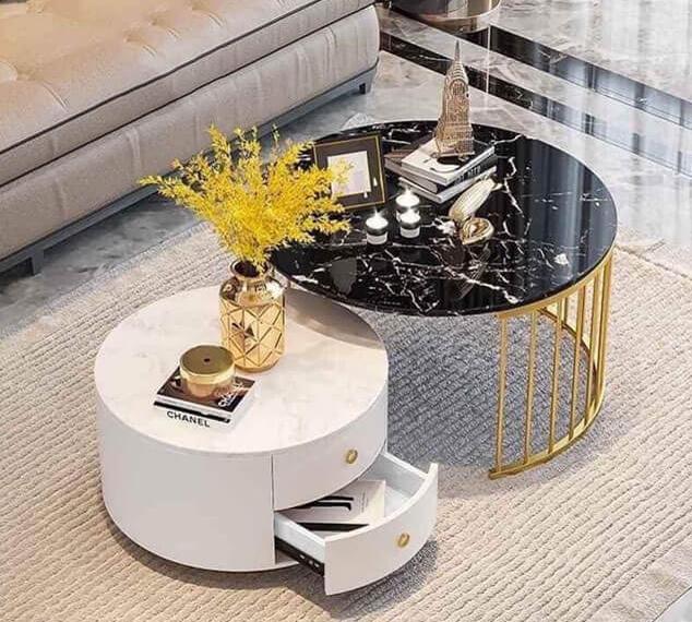 Bàn sofa tròn mặt đá ấn tượng