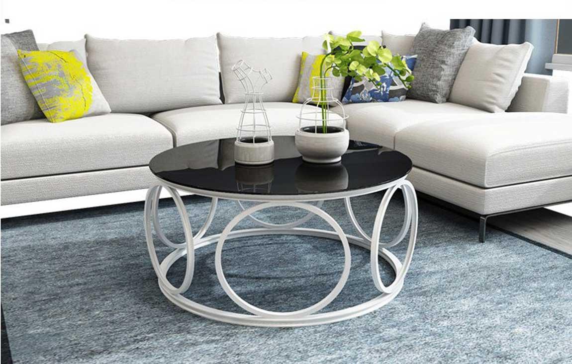 Bàn sofa tròn mặt kính đen sang trọng