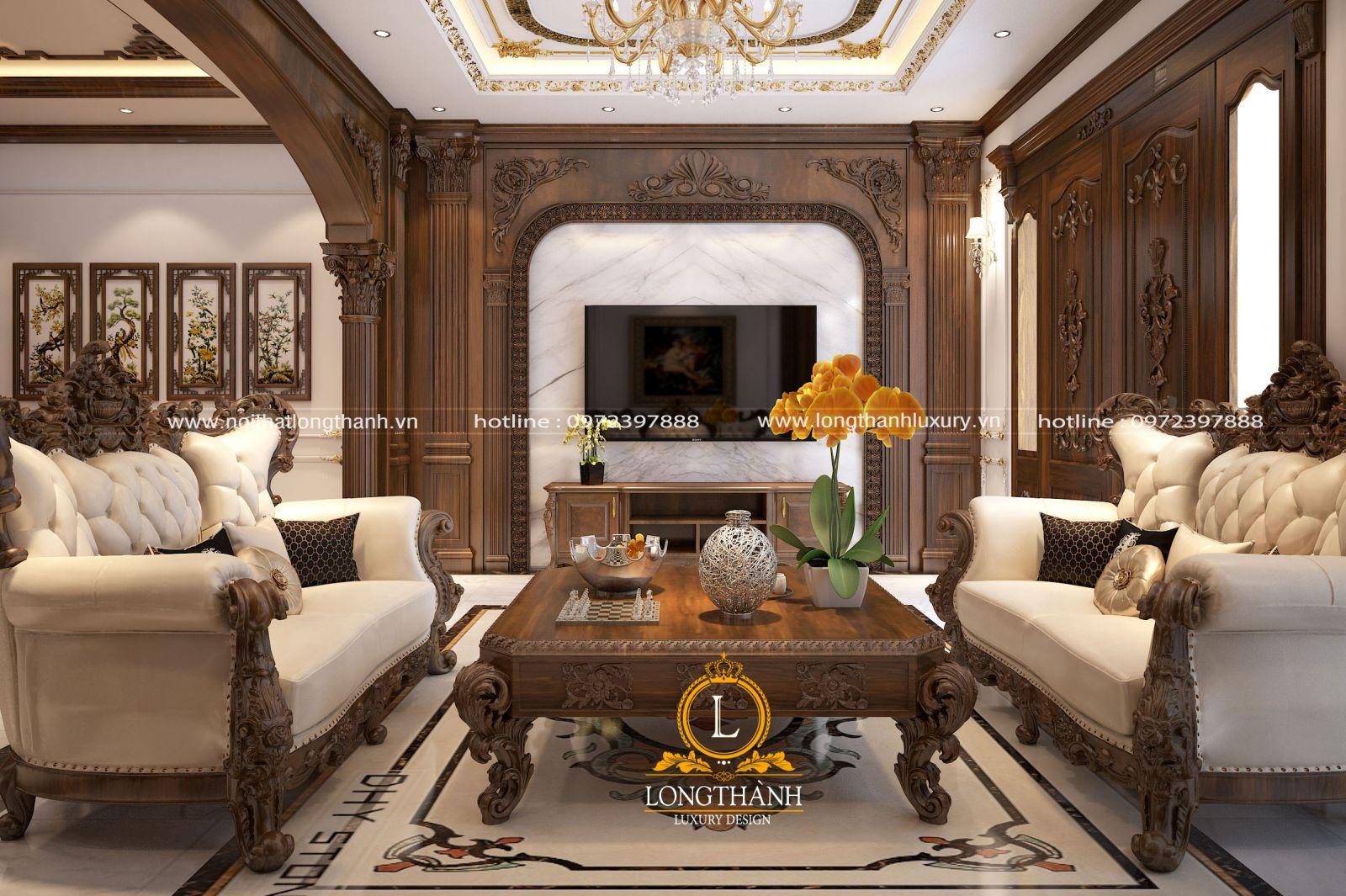 Bản thiết kế 3D phòng khách biệt thự nhà anh Nghiêm