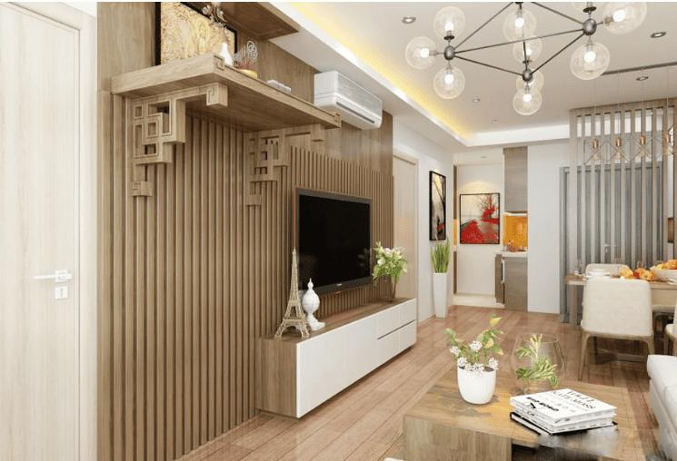 Thiết kế bàn thờ nhà chung cư với gỗ công nghiệp màu sắc nhẹ nhàng