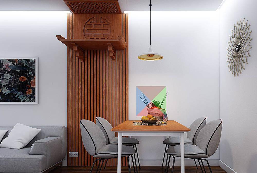 Bàn thờ treo tường  đặt chung phòng khách
