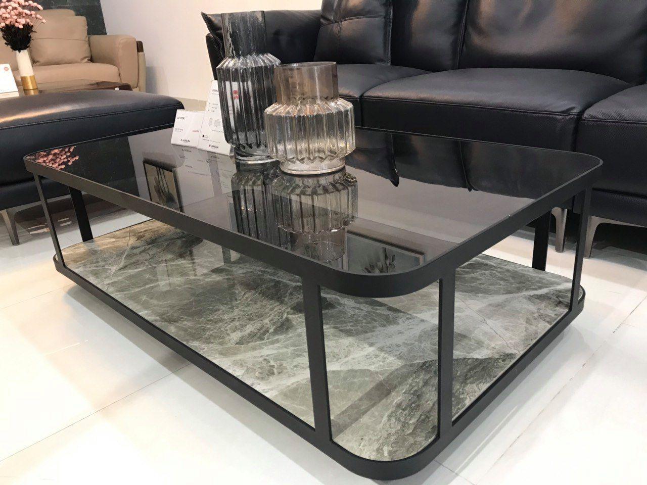 Thiết kế bàn trà phòng khách kính cường lực theo phong cách hiện đại