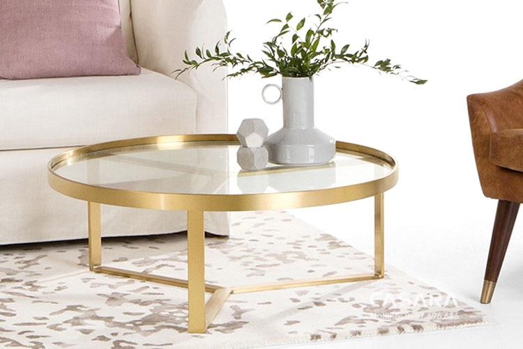Bàn trà kính cường lực tròn cho phòng khách nhà hiện đại