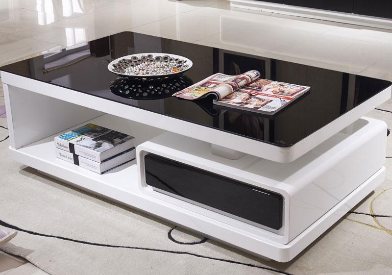 Thiết kế bàn trà kính cường lực có ngăn kéo cho phòng khách nhà chung cư