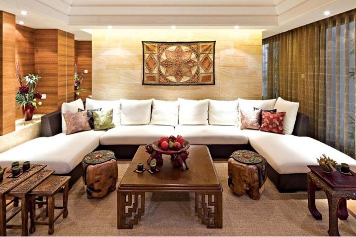 bàn trà thấp phòng khách á đông đương đại
