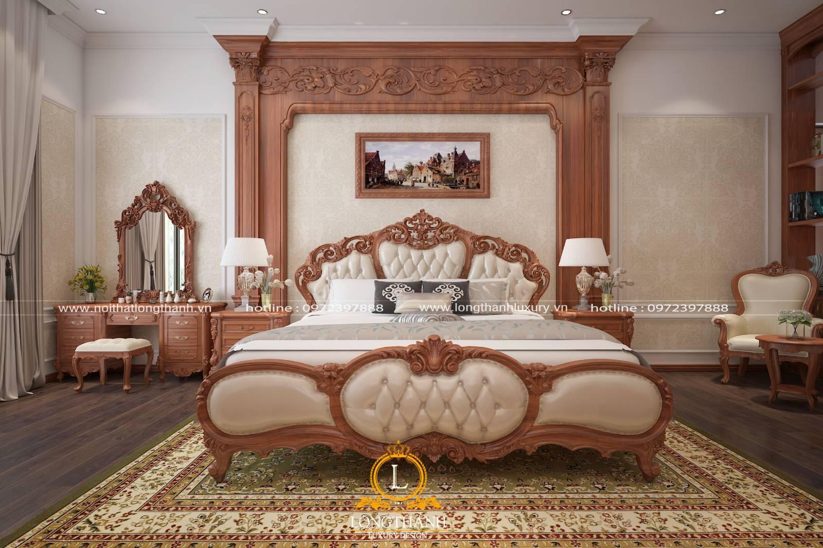Bàn trang điểm bằng gỗ nhỏ xinh tiện lợi trong phòng ngủ tân cổ điển