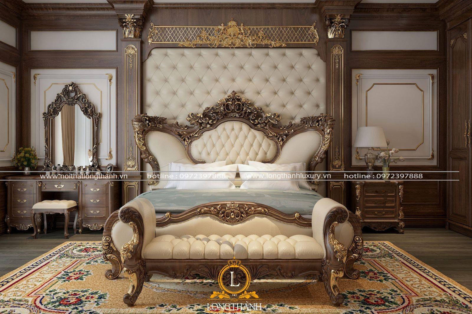 Bàn trang điểm tân cổ điển gỗ tự nhiên cho phòng ngủ master rộng mạ vàng