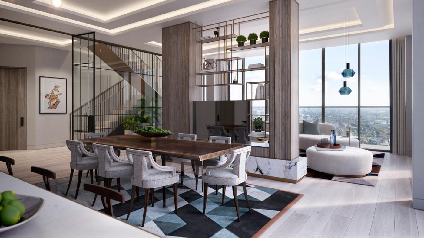 Thiết kế của căn hộ penthouse thường là kính và hệ vách ngăn