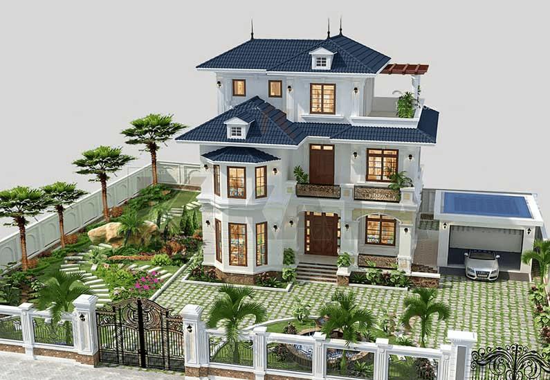 Biệt thự sân vườn đẹp hoàn hảo 3 tầng với mái thái, 4 mặt tiếp xúc với thiên nhiên