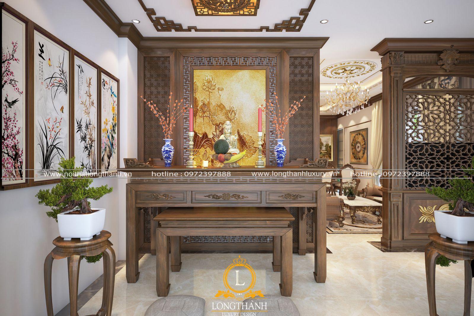 Mẫu bàn thờ phật bằng gỗ gõ đỏ sơn ichem