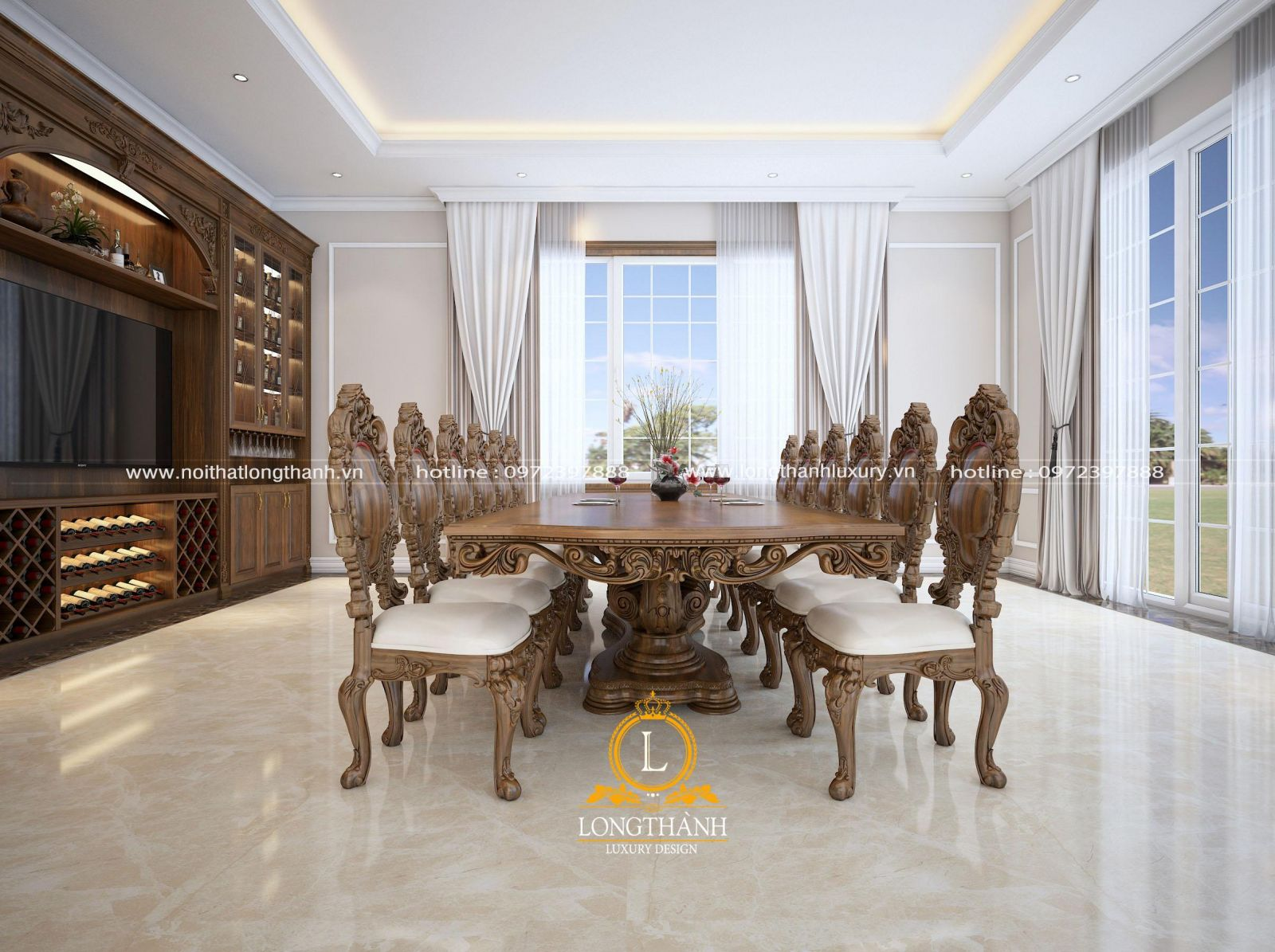 bộ bàn ăn gỗ Gõ