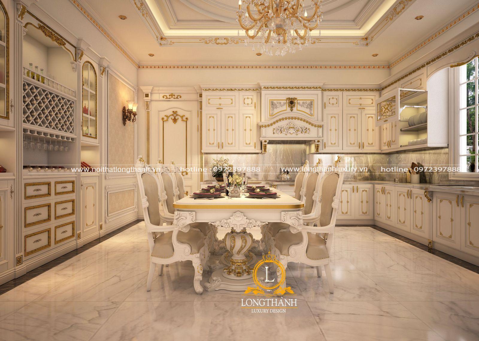 Bàn ghế ăn tân cổ điển sơn trắng dát vàng