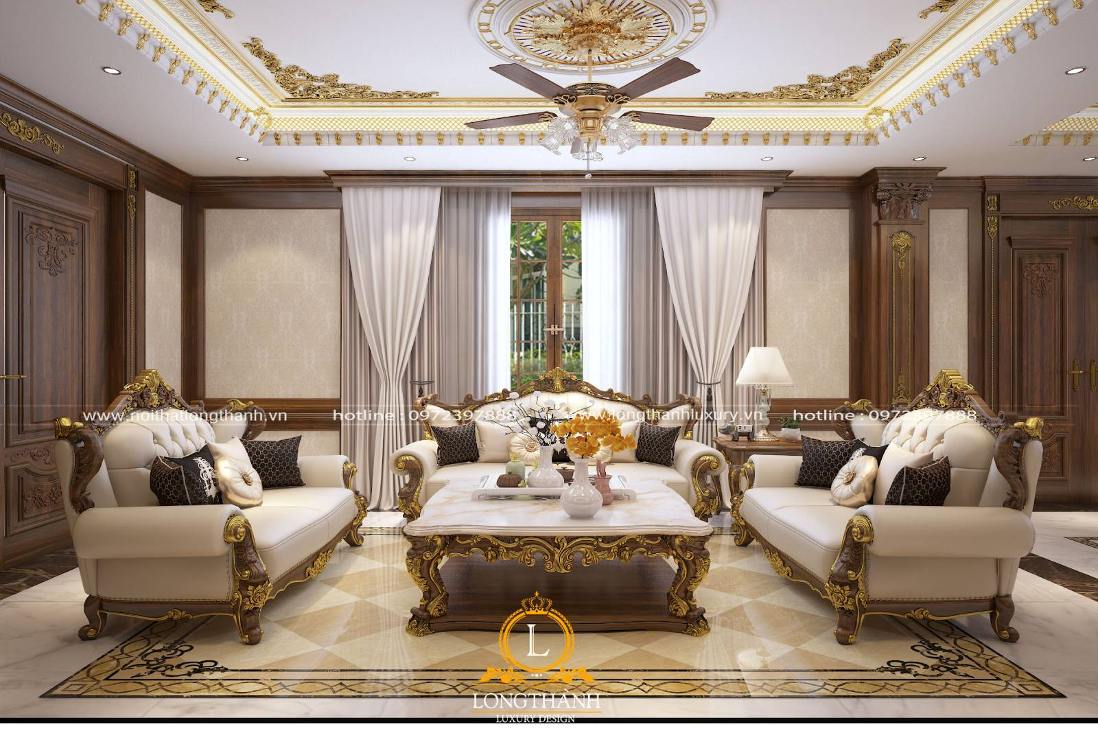 Không gia biệt thự được thiết kế đồ nội thất và trang trí các diện  trần tường theo phong cách tân cổ điển