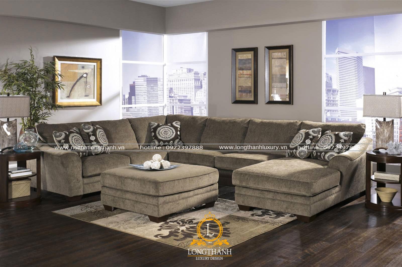 Bộ sofa nhung màu rêu cho không gian phòng khách nhà chung cư
