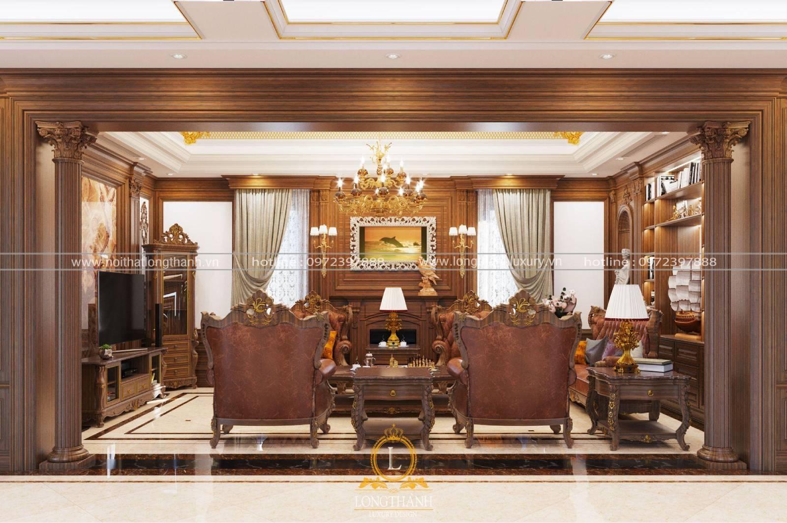 Bộ bàn ghế sofa cổ điển gỗ tự nhiên được đặt cân đối trong phòng khách