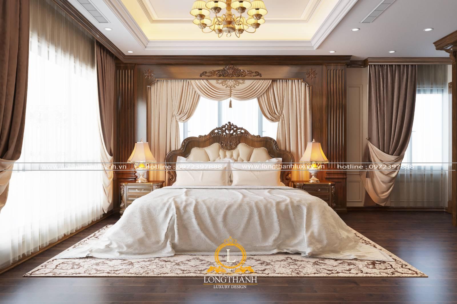 Nội thất phòng ngủ với thiết kế tân cổ điển