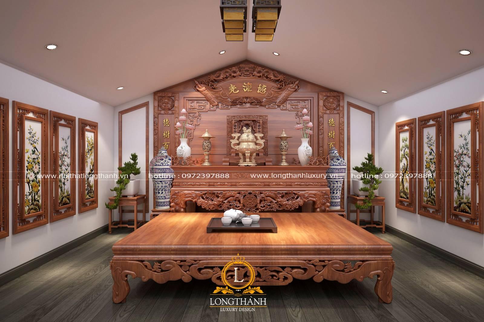 Bộ đồ thờ cho chung cư sử dụng chất liệu gỗ tự nhiên cao cấp
