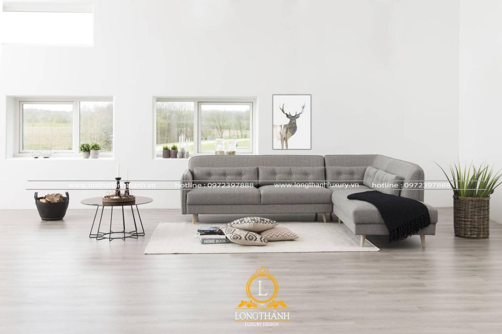Bộ ghế sofa chữ l làm từ vải và gỗ công nghiệp