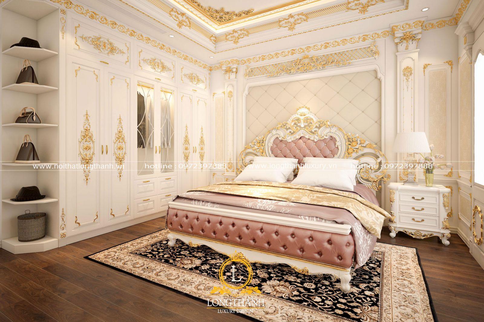 Bộ giường ngủ cho phòng ngủ cao cấp dát vàng