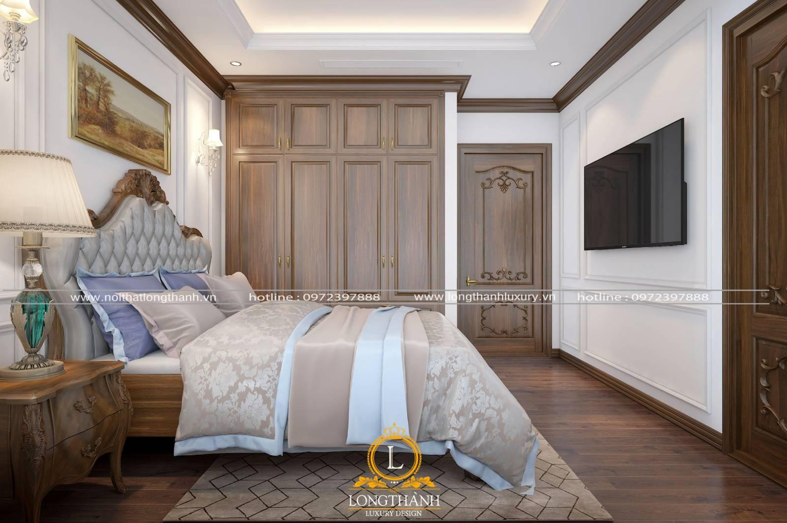 Bộ giường tủ phòng ngủ tân cổ điển được làm từ gỗ tự nhiên