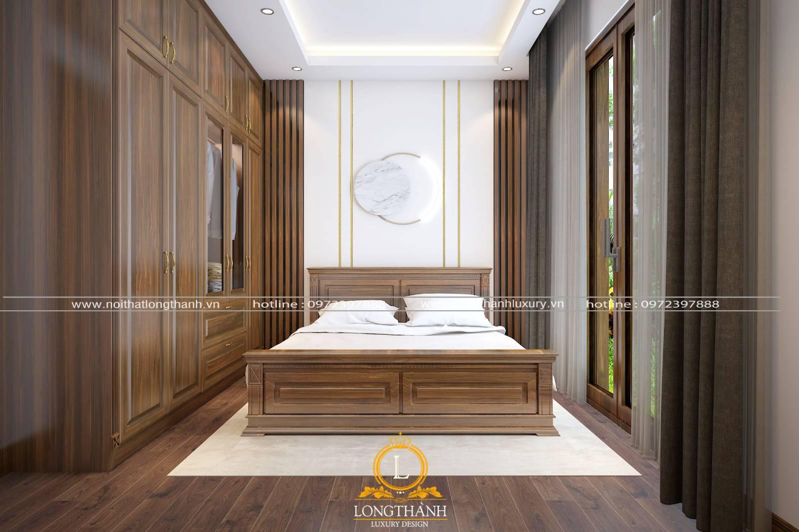 Bộ giường tủ tân cổ điển gỗ tự nhiên sang trọng đẳng cấp