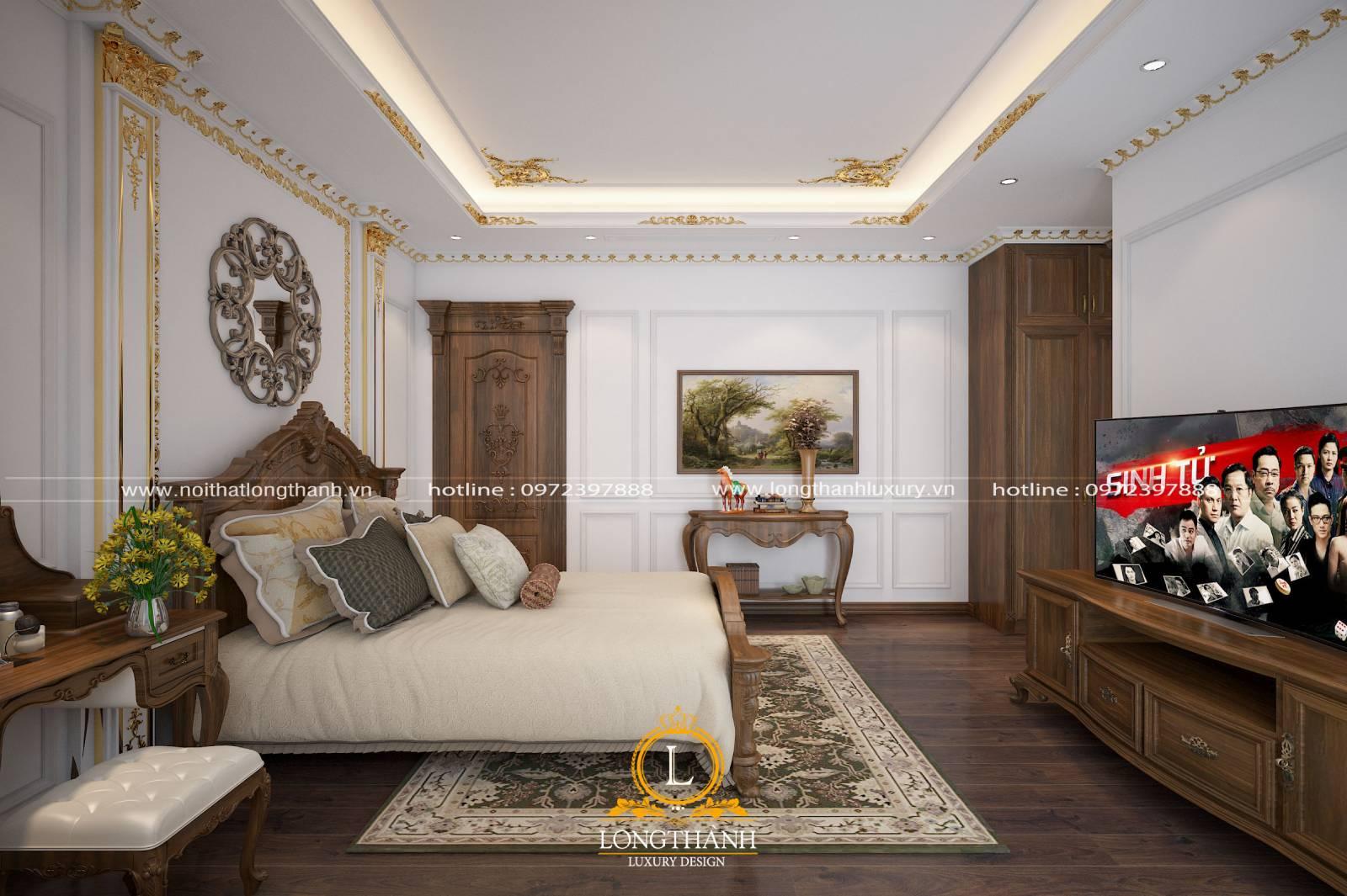 Bộ nội thất phòng ngủ tân cổ điển sử dụng gỗ tự nhiên cao cấp