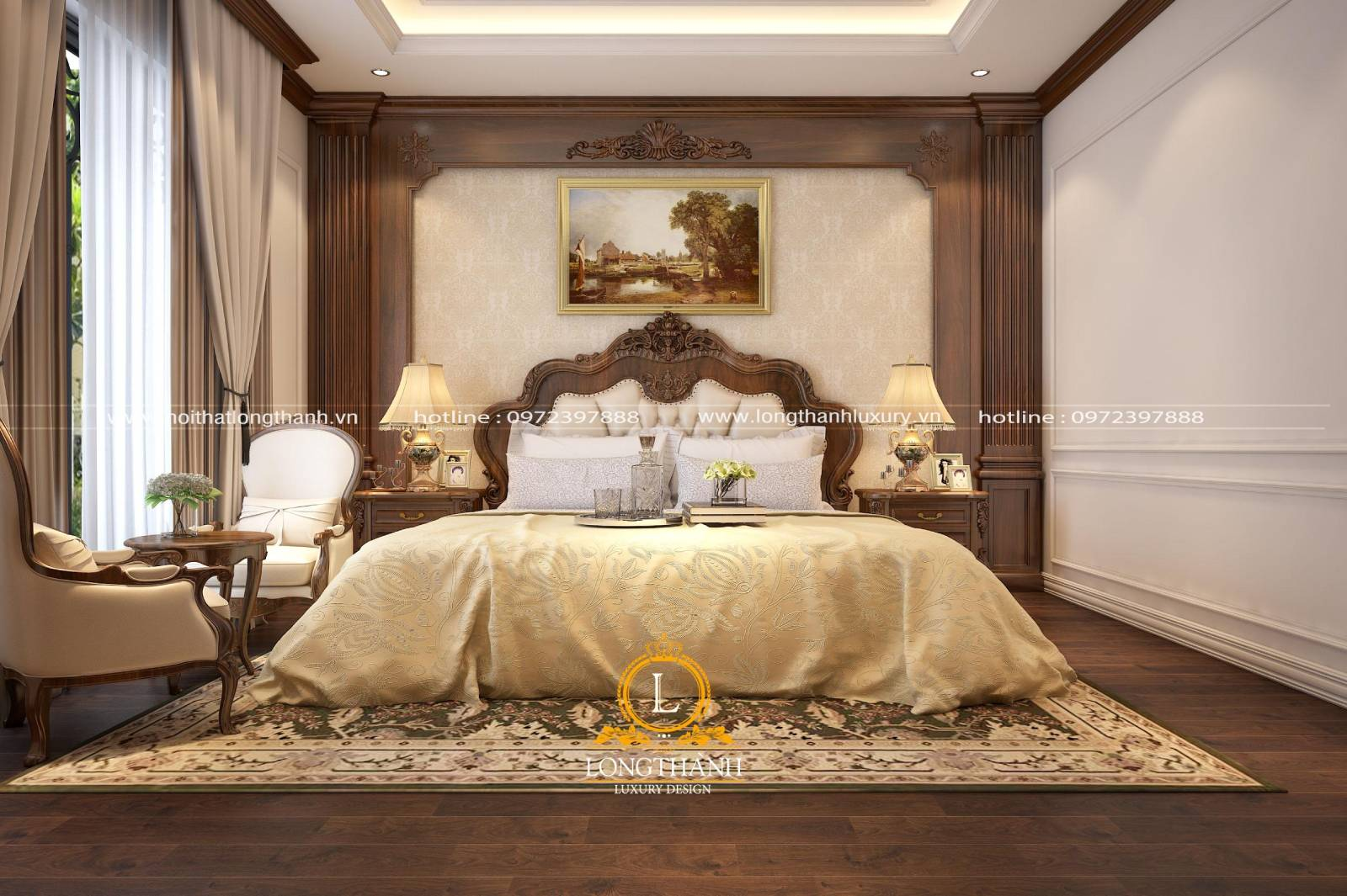 Bộ nội thất tân cổ điển gỗ tự nhiên cho phòng ngủ biệt thự