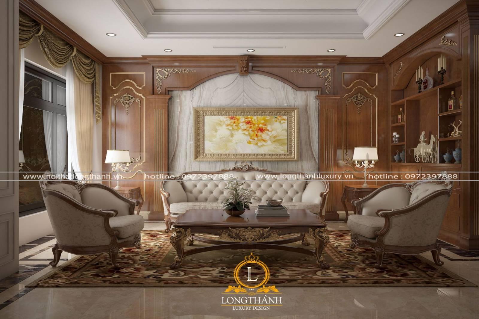 Bộ sofa chữ u tân cổ điển đẹp tinh tế cho phòng khách nhà phố