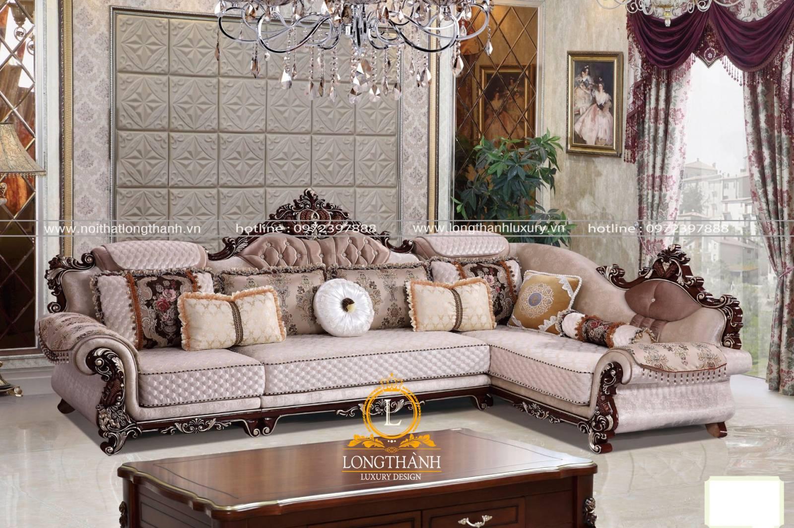 Mẫu ghế sofa chữ L chế tác từ gỗ tự nhiên đẹp mê hoặc