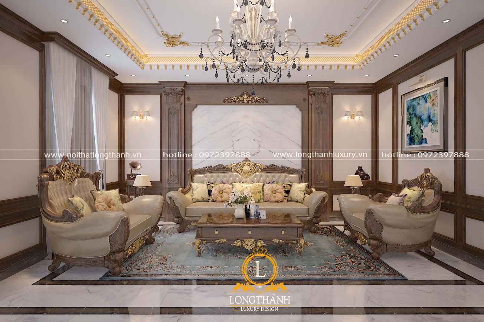 Không gian phòng khách hài hòa với diện trần tường cùng đồ nội thất đẹp