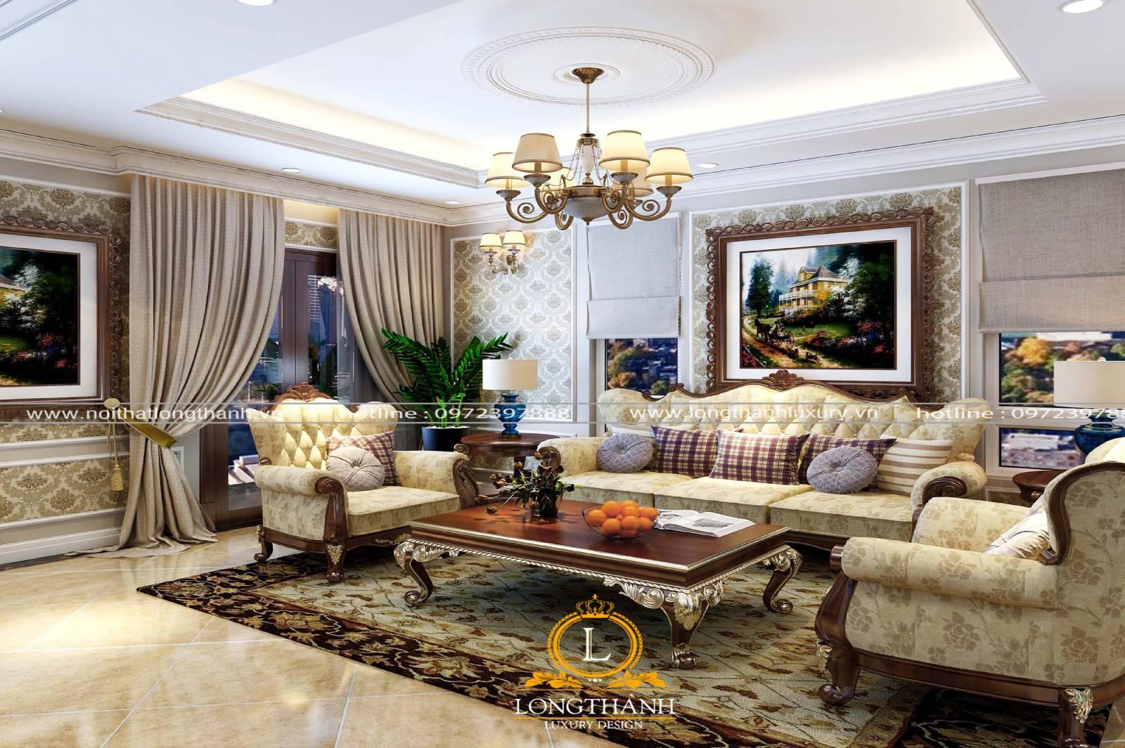 Không gian phòng khách tân cổ điển được trang trí vô cùng nổi bật