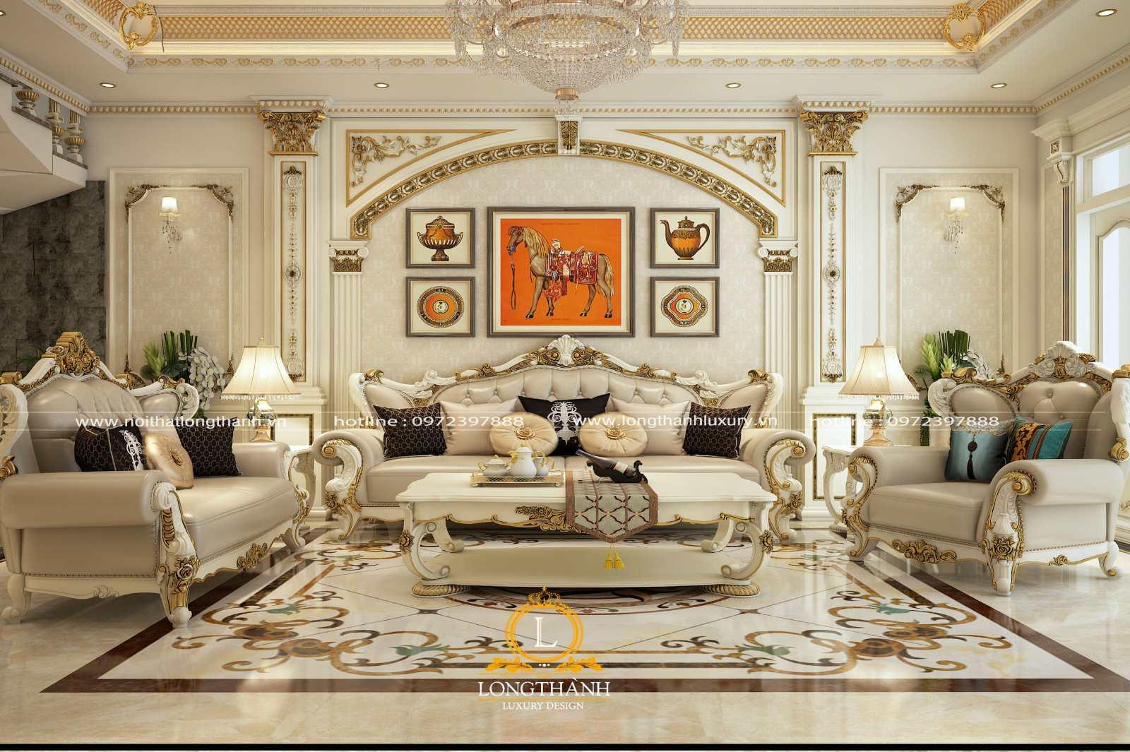 Bộ sofa phòng khách cao cấp 123 làm từ gỗ bọc da tự nhiên