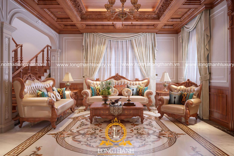 phòng khách biệt thự dành cho những ai yêu thích gỗ