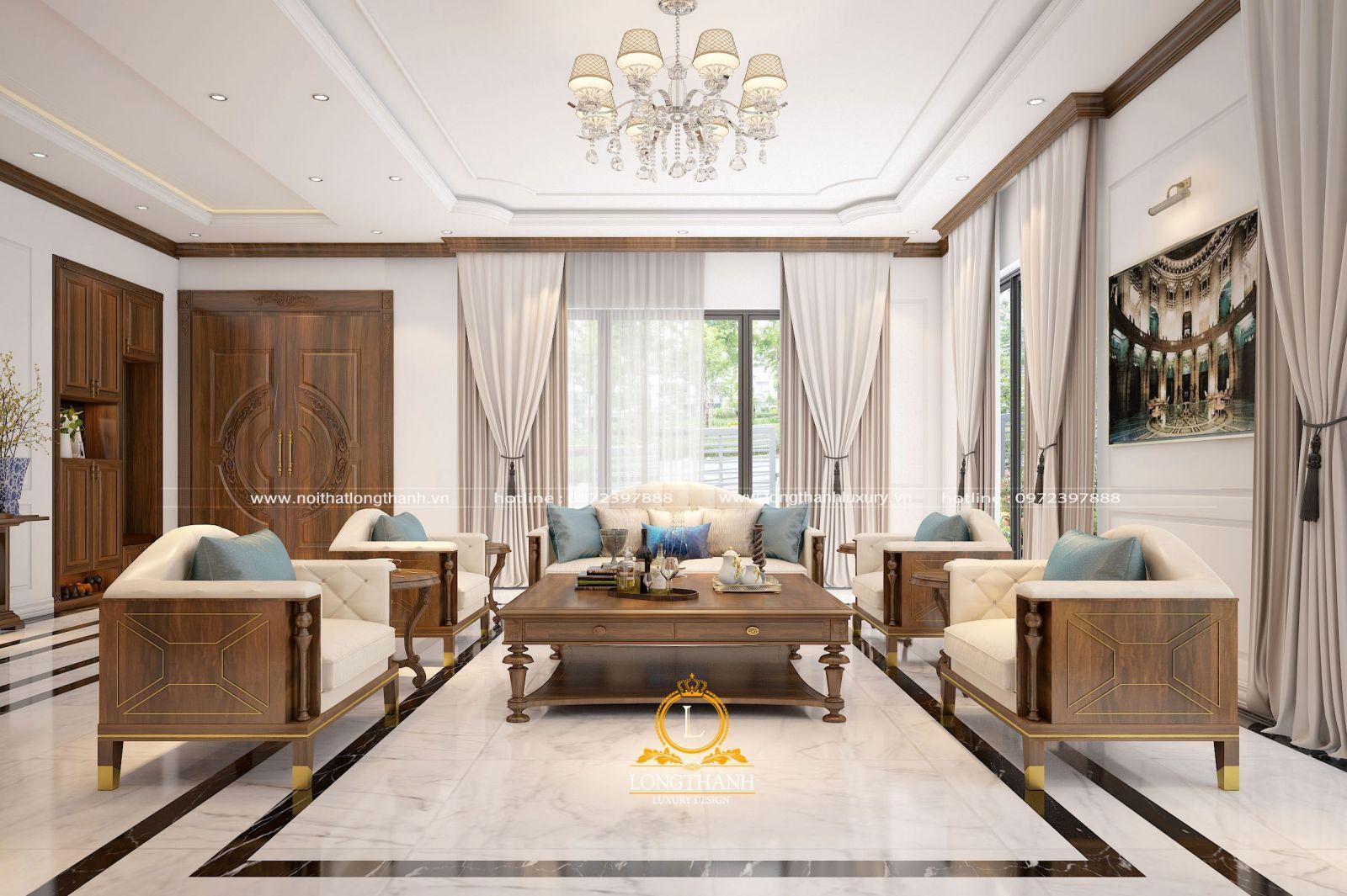 Bộ sofa phòng khách tân cổ điển hiện đại sang trọng
