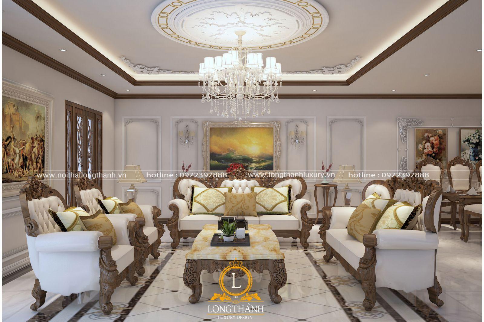 Bộ sofa tân cổ điển hình chữ u có màu nâu và trắng hài hòa cân đối