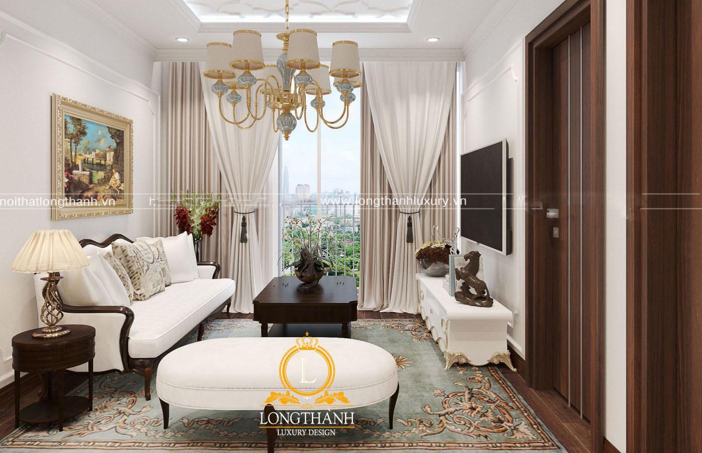 Bộ sofa trắng nổi bật cho không gian tinh khôi