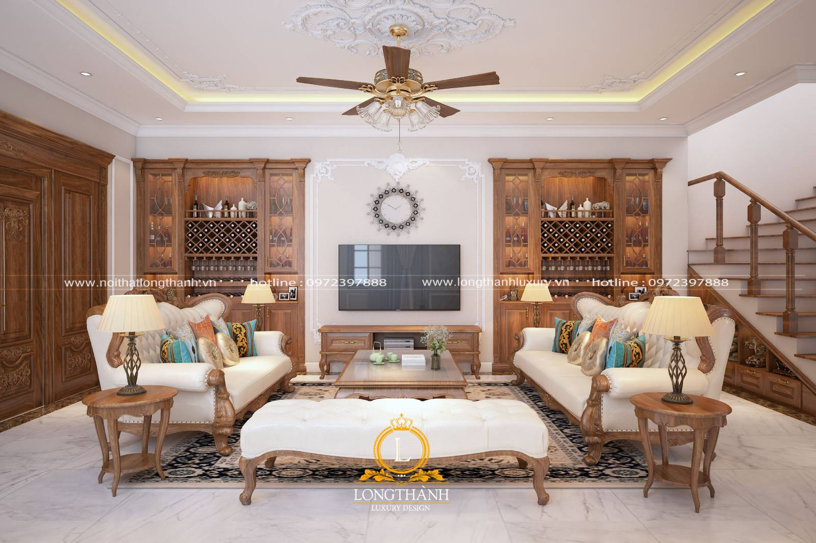 Bộ sofa văng phòng khách làm từ gỗ gõ đỏ và vải nỉ