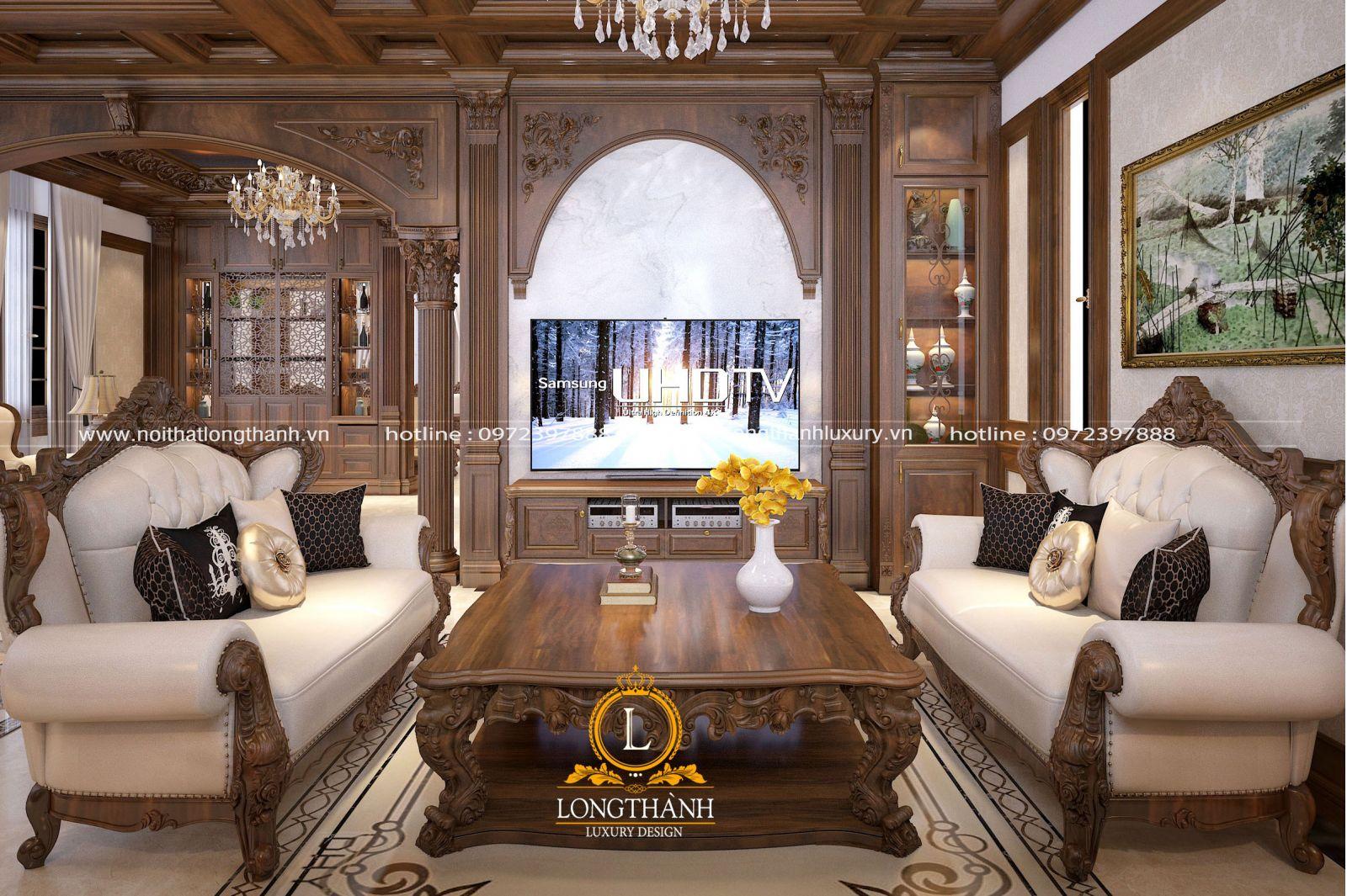 Nội thất phòng khách biệt thự được sử dụng hoàn toàn chất liệu gỗ tự nhiên cao cấp