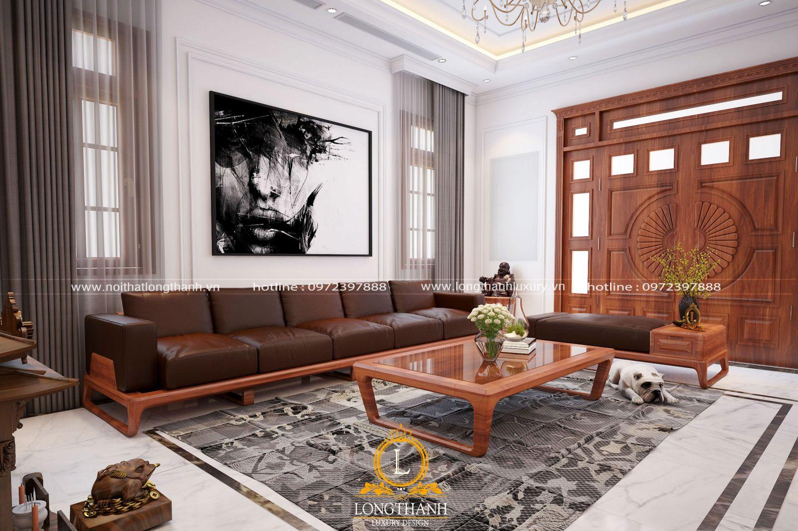 Bộ sofa văng dài được sử dụng cho phòng khách  có diện tích rộng theo chiều dài