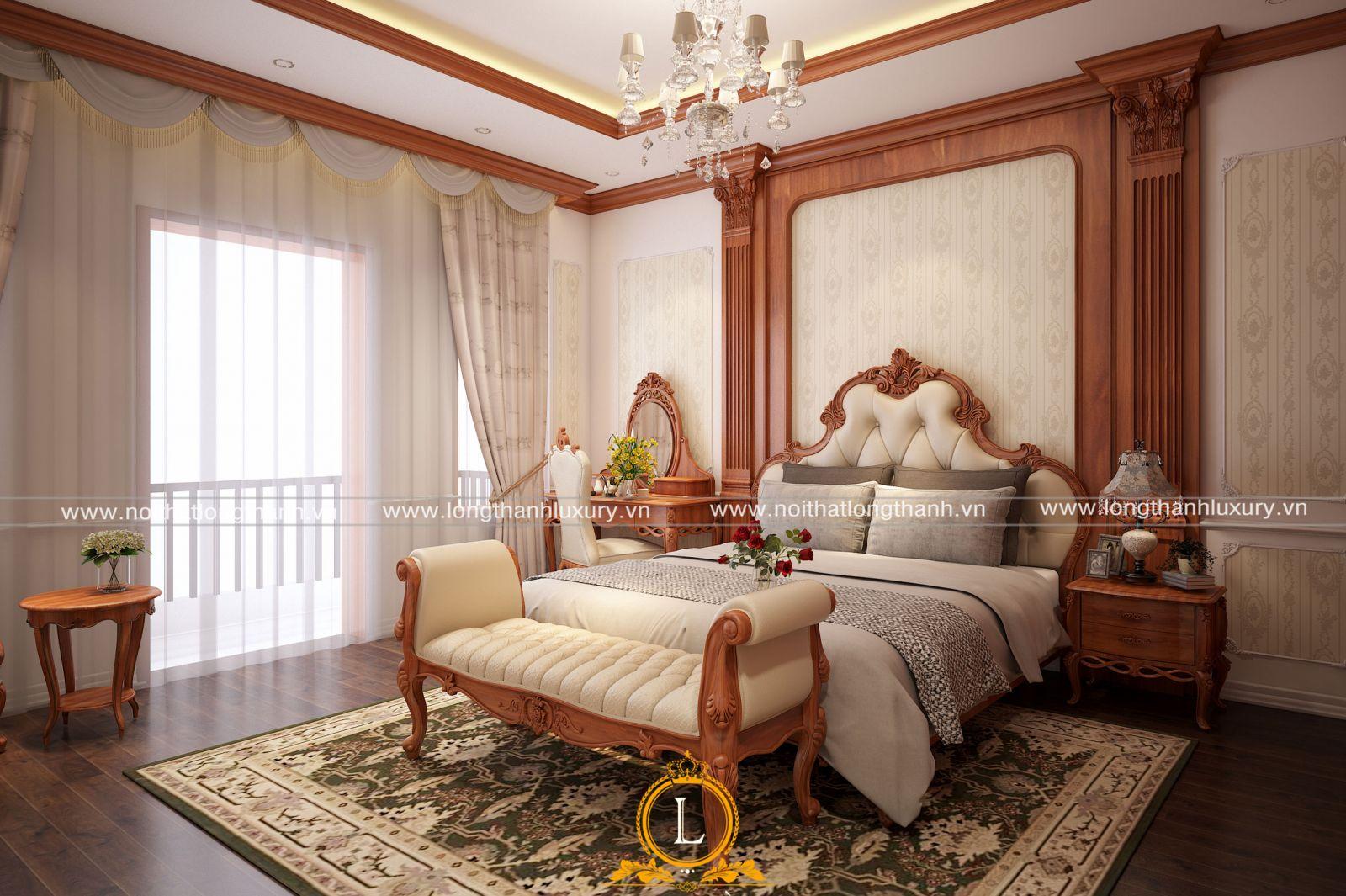 Căn phòng ngủ  trong nhà ống được thiết kế trên tầng cao thông thoáng