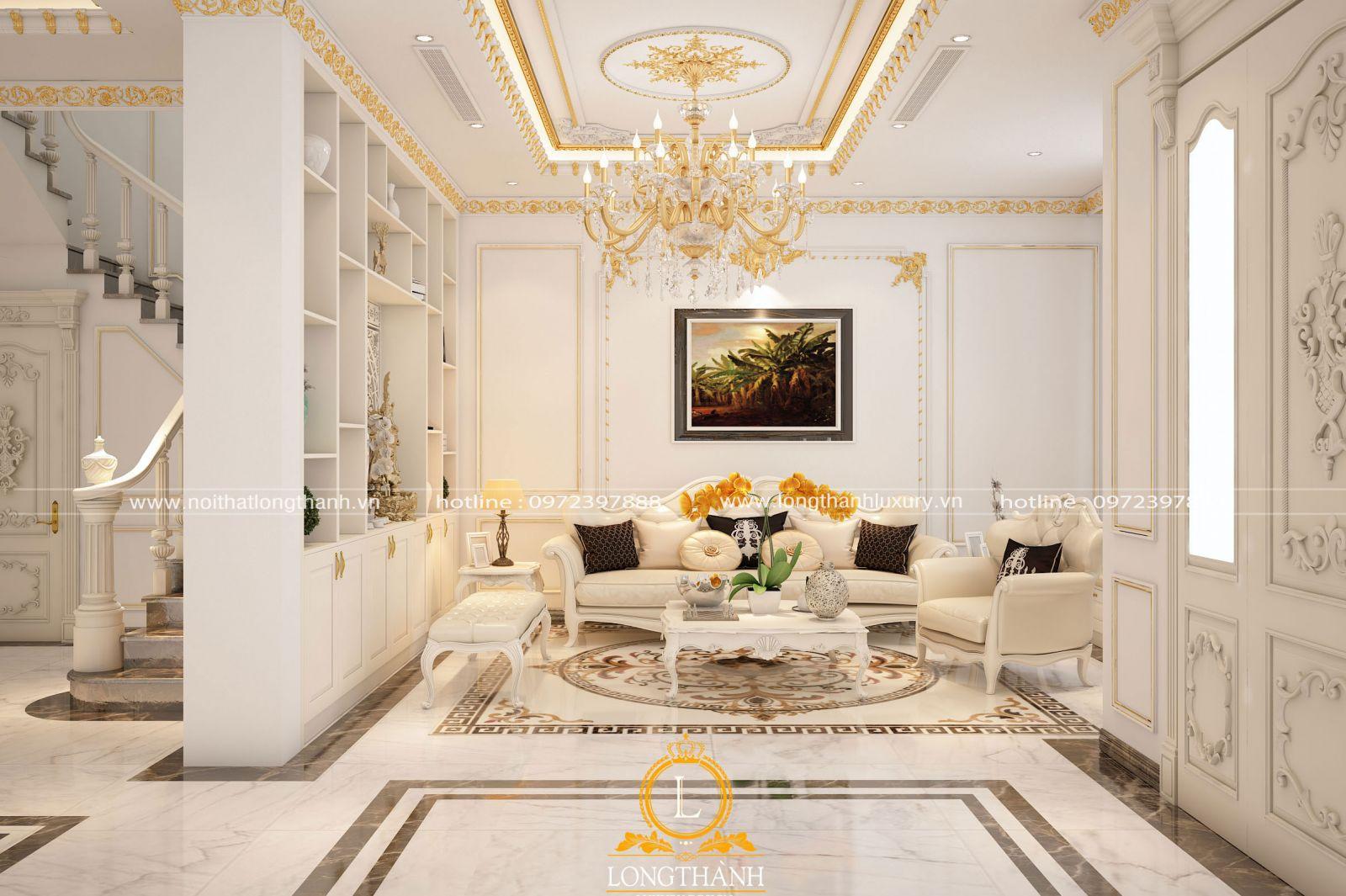 Cách bài trí tranh treo tạo điểm nhấn ấn tượng cho phòng khách tân cổ điển màu trắng