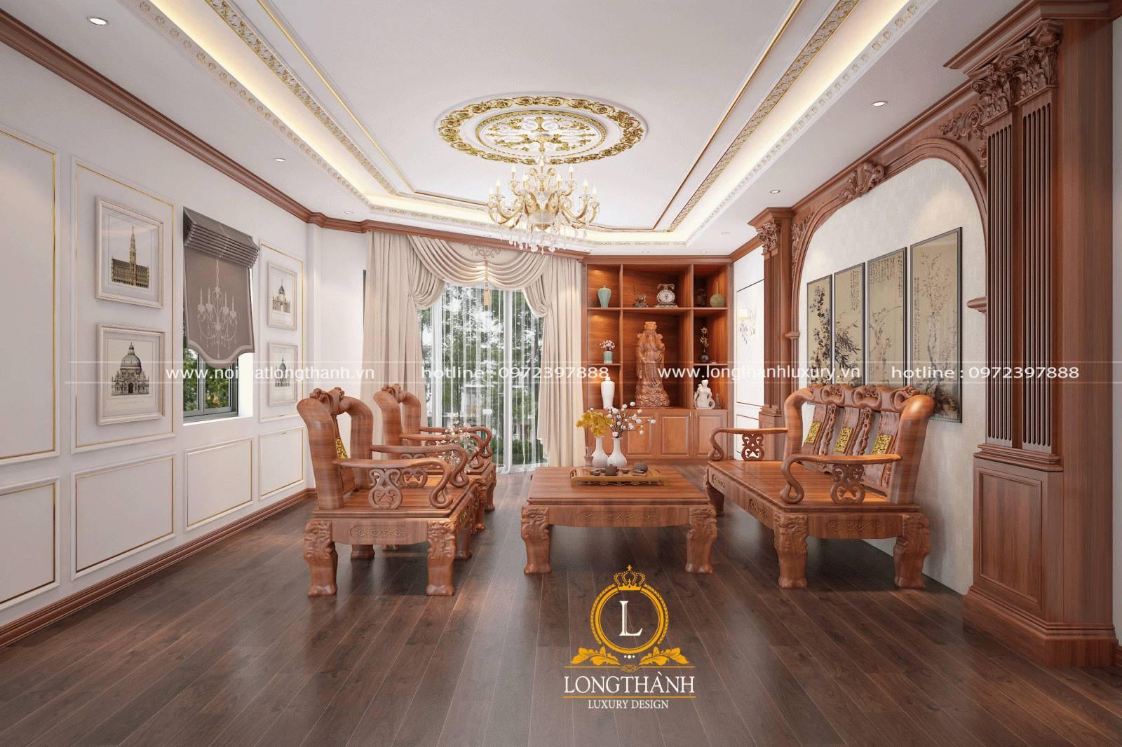 Bố cục bố trí tranh treo phòng khách đối xứng và đồng đều theo 2 diện tường