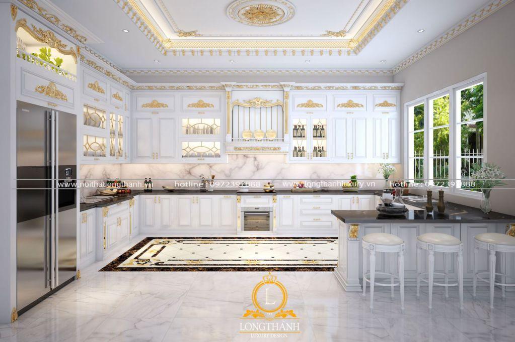 Thiết kế tủ bếp tân cổ điển sơn trắng kết hợp mẫu quầy bar đa năng tiện lợi