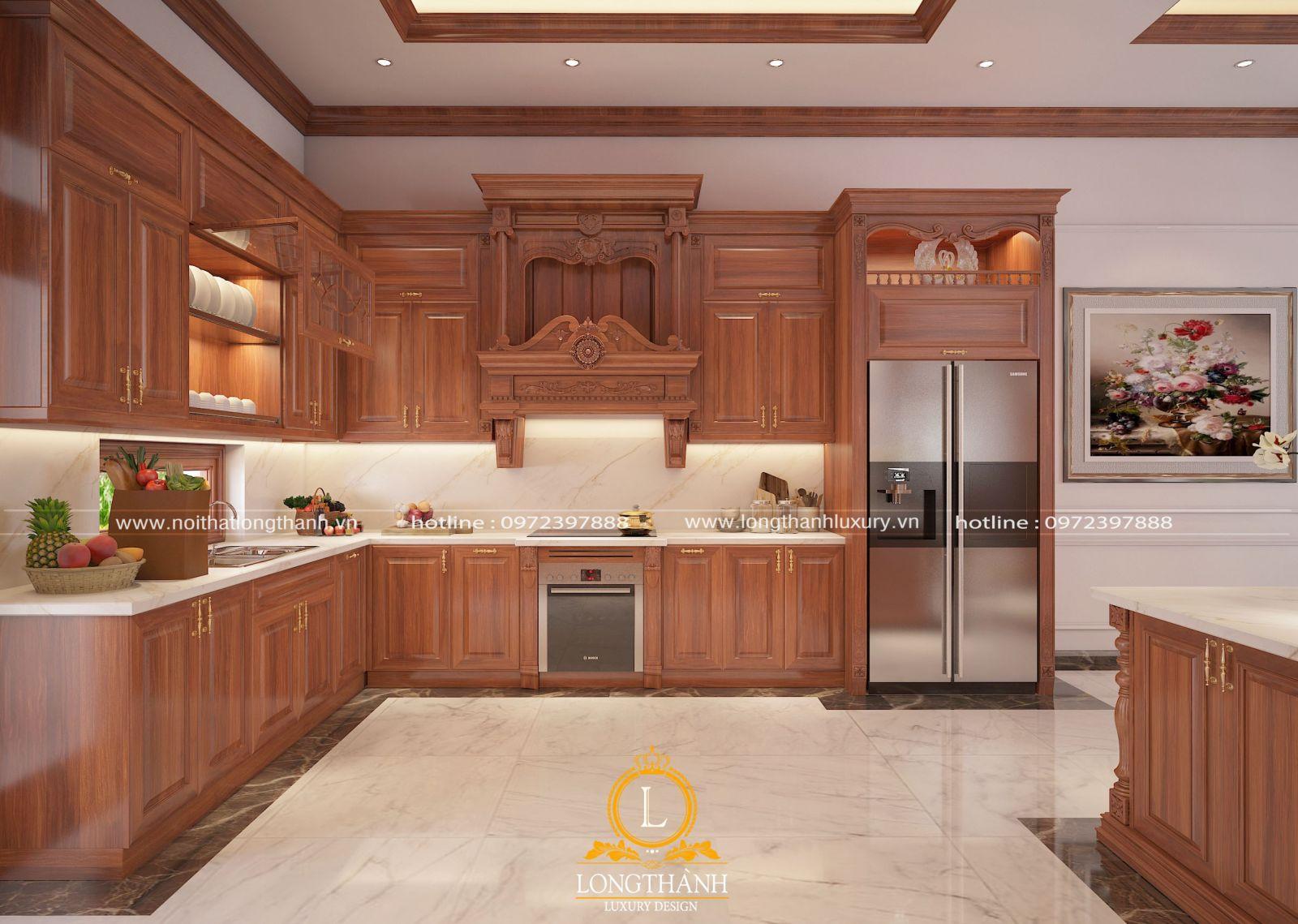 Mẫu tủ bếp với những nét hoa văn tân cổ điển tinh tế