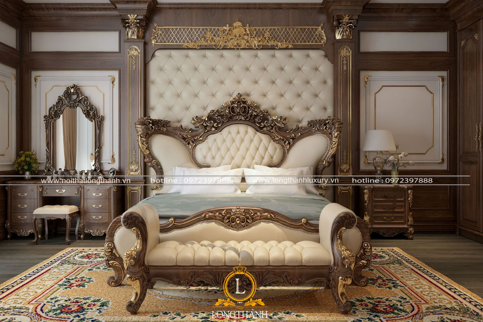 Thiết kế nội thất tân cổ điển gỗ Gõ tự nhiên – sự lựa chọn của nhiều nhà biệt thự lớn