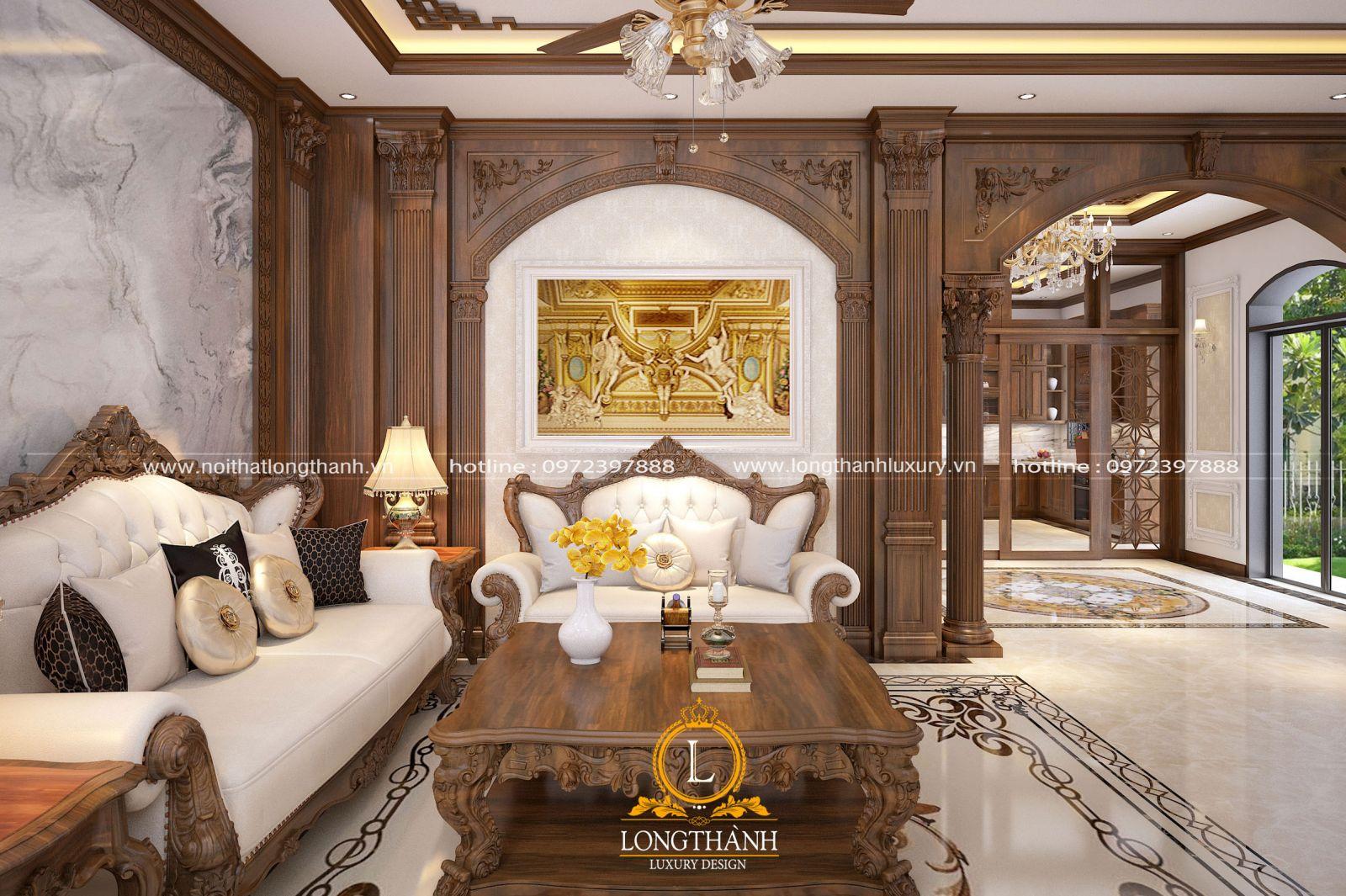 Không gian phòng khách tân cổ điển được thiết kế tinh tế và lãng mạn