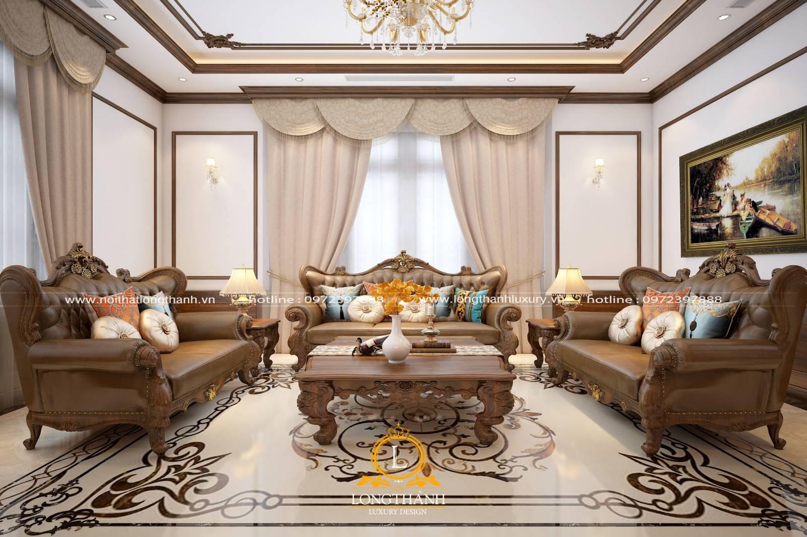 Mẫu sofa tân cổ điển cho phòng khách nhà phố cao cấp