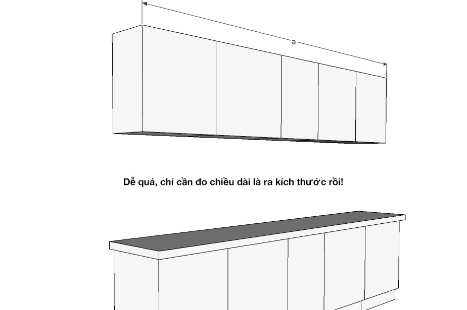 Cách tính tủ bếp chữ I