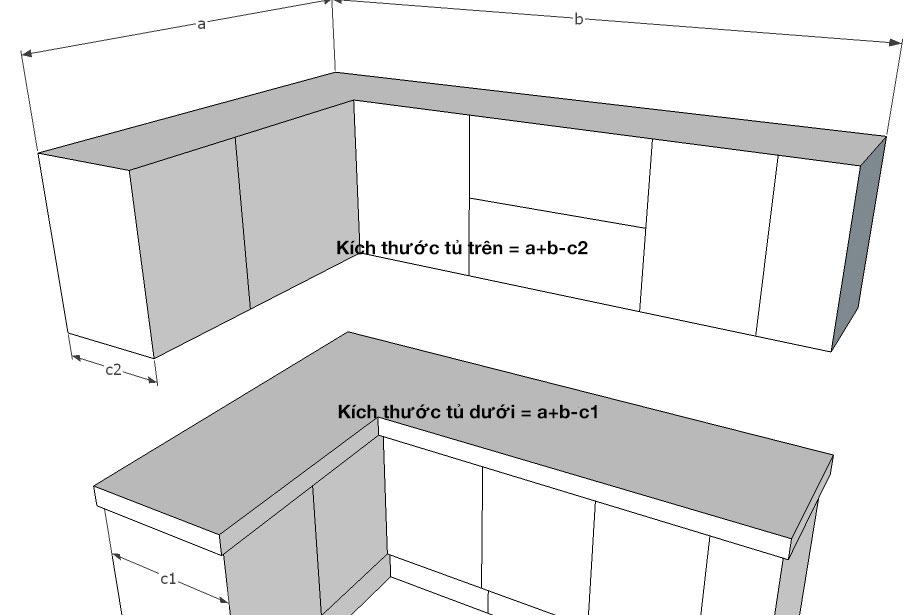 Cách tính tủ bếp chữ L